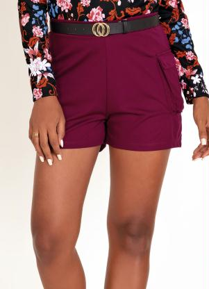 Shorts (Bordô) com Bolso Lateral
