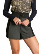 Shorts Cintura Alta Preto com Recortes