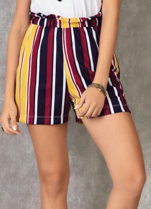Shorts Clochard (Listrado) Cintura Alta