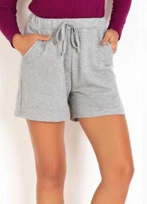 Shorts em Moletinho (Cinza) com Fios Metalizados