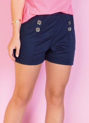 Shorts (Marinho) com Botões Decorativos