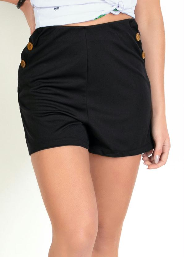 Shorts (Preto) com Botões Decorativos