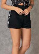 Shorts Preto com Elástico Lateral