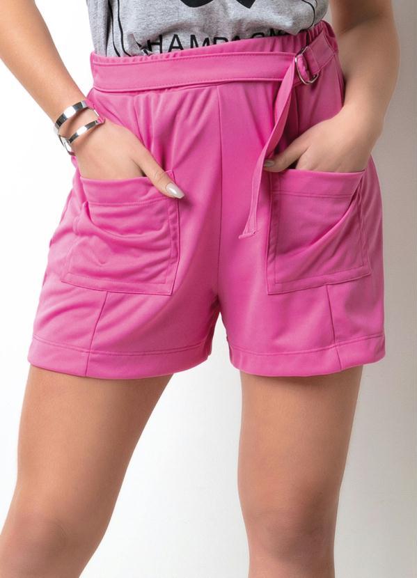 Shorts (Rosa) com Bolsos e Fivela