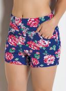 Short com Estampa Floral Azul