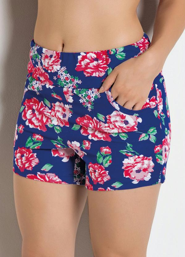 Short com Estampa Floral (Azul)