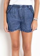 Short Jeans Azul com Babados na Barra