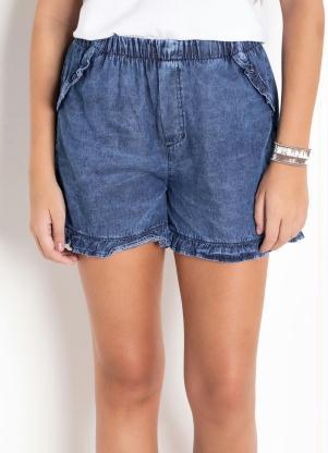 Short Jeans (Azul) com Babados na Barra