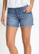 Short Jeans com Bordado Floral Azul Médio