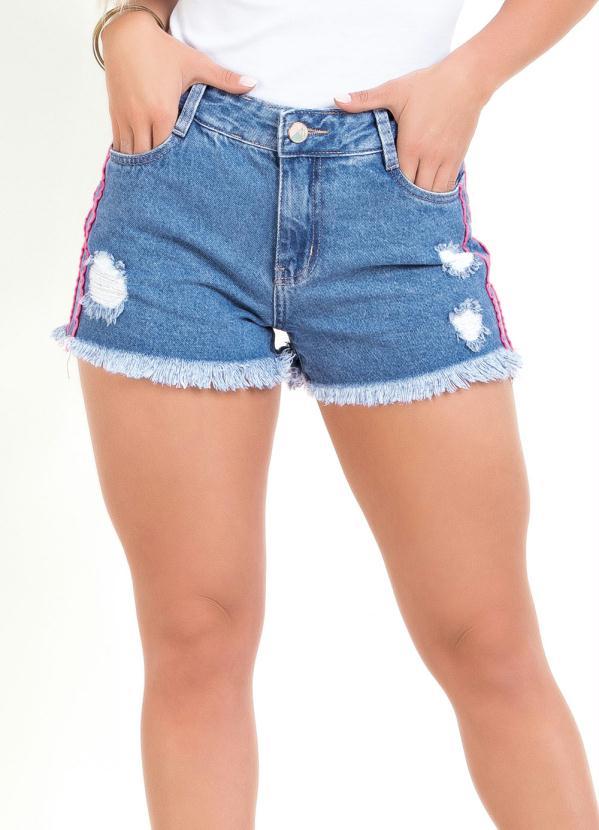 Short (Jeans) Destroyed com Faixas Neon Sawary