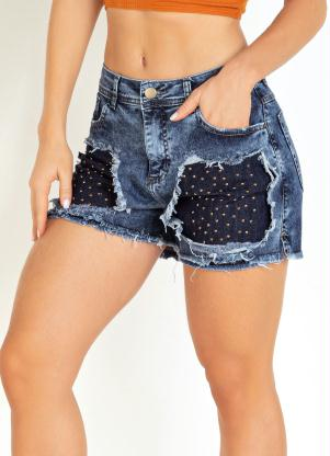 Short (Jeans) Destroyed com Tachas Sawary