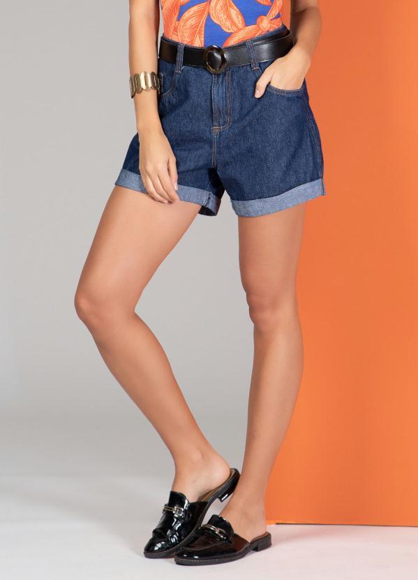 Short (Jeans Escuro) com Barra Italiana