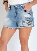 Short Jeans Eventual com Estampa e Rasgados