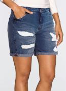 Short Jeans Puídos Azul Escuro