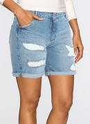 Short Jeans Puídos Azul Médio