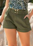 Short Feminino Verde Militar em Sarja