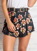 Short Floral Cintura Alta com Pregas