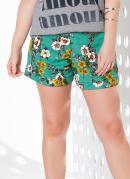 Shorts Floral com Elástico na Cintura