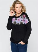 Suéter de Tricô com Jacquard Floral Preto
