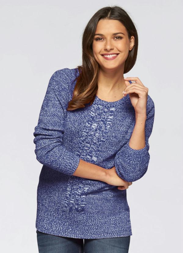 Suéter de Tricô com Ponto Trabalhado (Azul Mescla)