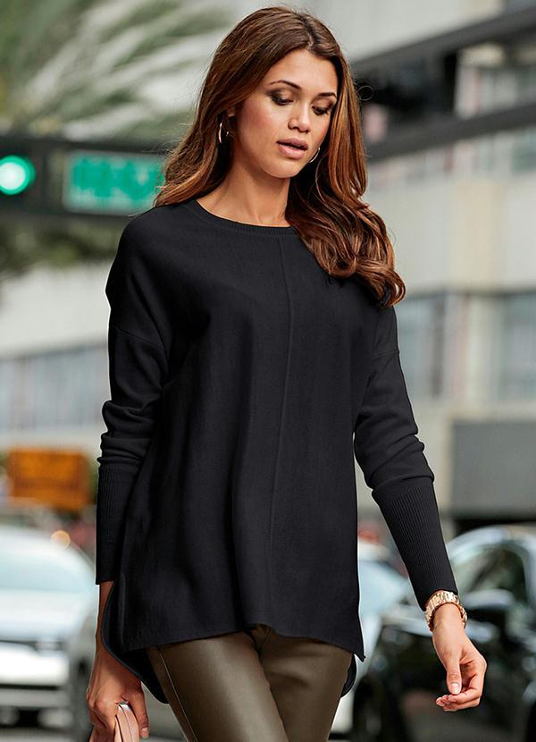 Suéter de Tricô Oversized (Preto)
