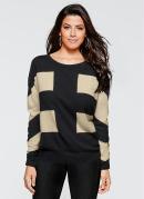 Suéter de Tricô Decote Redondo Preto e Taupe
