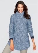 Suéter de Tricô Alongado Mescla Azul