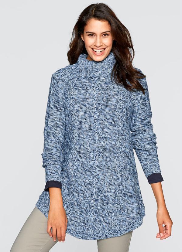 Suéter de Tricô Alongado (Mescla Azul)