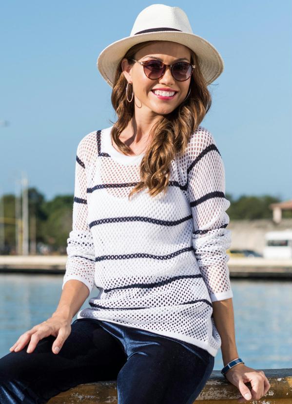 Suéter de Tricô Listrado (Branco/Azul)