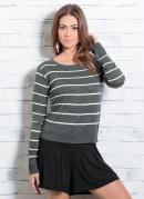 Suéter em Tricô Listrado e Cinza Quintess
