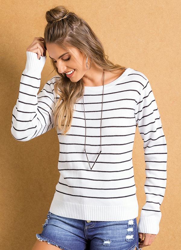 Suéter Tricô Listrado (Preto e Branco)