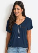 Blusa com Bolso em Malha Flamê Azul Marinho