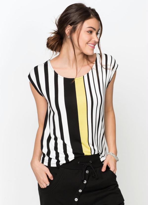 Blusa com Estampa Frontal (Listrada Preta)