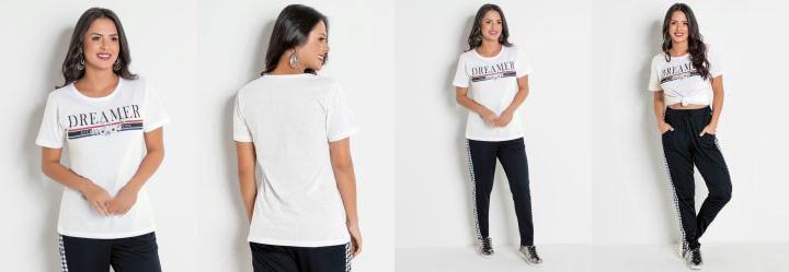 428f0d268c Score  0.0 T-Shirt Alongada Branca com Estampa Frontal