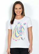 T-Shirt Branca com Estampa de Zebra Neon