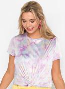 T-Shirt com Amarração Estampada Tie Dye Rosa