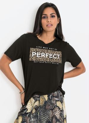 T-Shirt com Estampa Frontal Animal Print (Preta)
