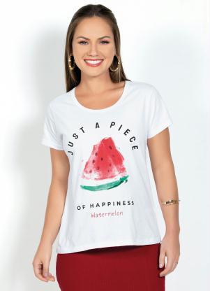 T-Shirt com Estampa Frontal de Melancia (Branca)