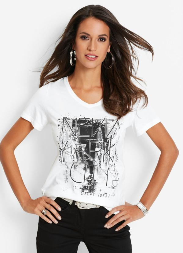 T-Shirt com Estampa Frontal Nyc (Branca)