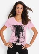 T-Shirt com Estampa Frontal Nyc Rosê