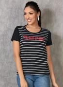 T-Shirt Listrada com Estampa Frontal