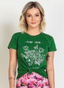T-Shirt Moda Evangélica com Estampa Verde