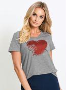 Tshirt Básica Estampada de Coração Mescla
