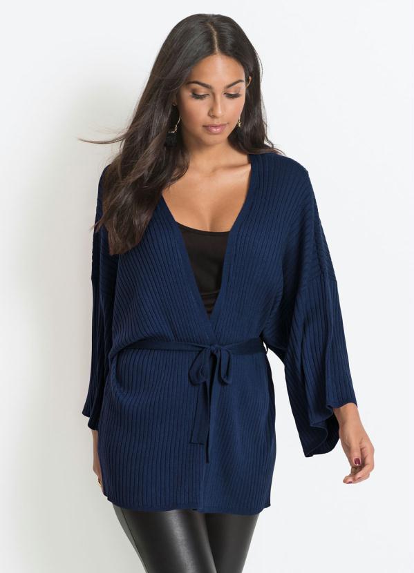 Kimono de Tricô com Amarração (Azul)