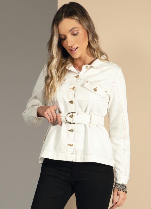 Jaqueta com Faixa Ajustável na Cintura (Off White)