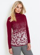 Suéter de Tricô com Fio Metalizado Bordô