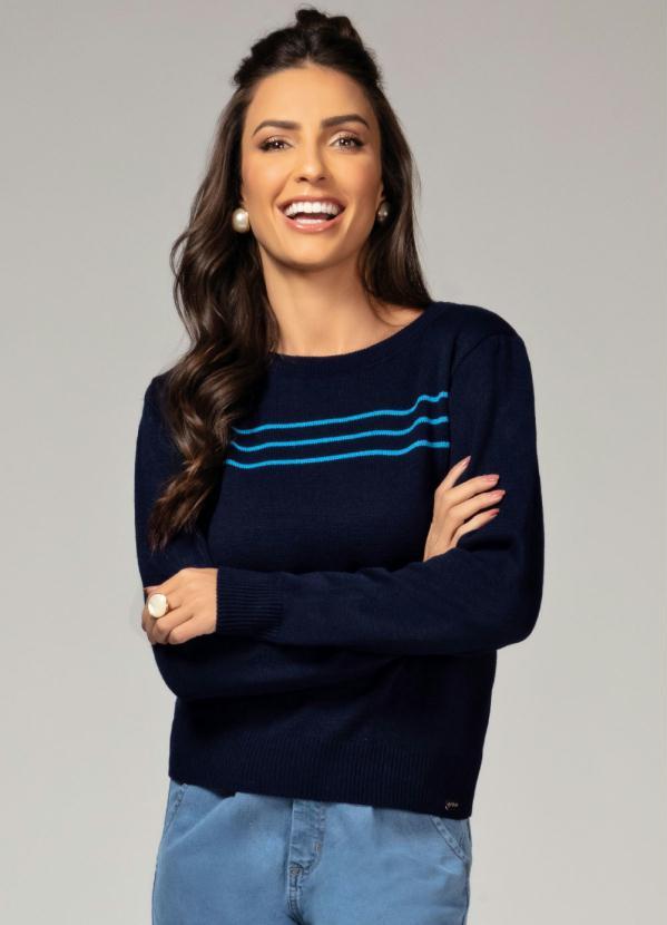 Suéter (Azul) com Franzido no Ombro