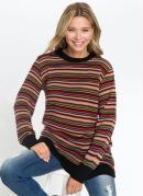 Suéter de Tricô Alongado Listrado Preto