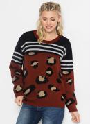 Suéter de Tricô Animal Print Onça Marrom