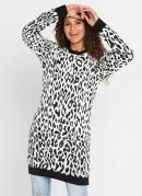 Suéter de Tricô Animal Print Onça Preto